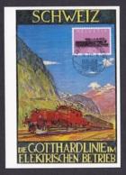 41.- SWITZERLAND 1982 MAXIMUM CARD  RAILWAY GOTTHARD TRAIN 100 YEARS - Trains