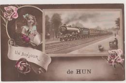 UN BONJOUR DE HUN - YVOIR..Le Train En Gare - Yvoir