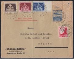 DR Brief Luftpost Mif Minr.530,606 OER,617,619,620 Dresden Flughafen 22.6.36 Gel. In Irak - Germany