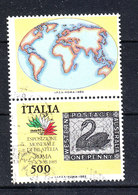 "Italia   - 1985. Cigno Nero Su Francobollo Expo "" Italia 85 "". Black Swan On  Stamp. With Vignette - Cygnes"