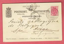 P 204 - Suomi-Finlande 1898 - CP Helsinki Vers Spa Par Liège En Belgique Sur N°30 - Tarif International D'époque - 1856-1917 Administration Russe
