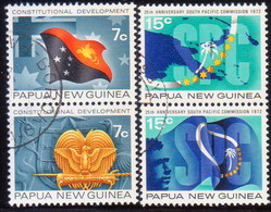 PAPUA NEW GUINEA 1972 SG #212-15 2 Compl.sets Of Two Vert.pairs Used Constitutional Development & S.Pacific Commission - Papua Nuova Guinea