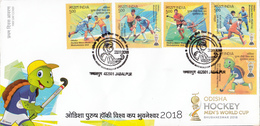INDIA 2018 FDC, Odisa Men's Hockey World Cup Set 5v, First Day Cover  Jabalpur Cancelled - FDC