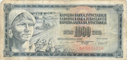 BILLET   YOUGOSLAVIE  1000  DINARA - Yougoslavie