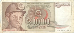 BILLET   YOUGOSLAVIE   20000 DINARA - Yougoslavie