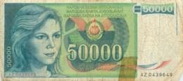 BILLET   YOUGOSLAVIE   50000 DINARA - Yougoslavie