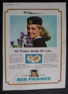 ORIGINAL1965 MAGAZINE ADVERT FOR  AIR FRANCE - Advertising