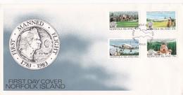 FIRST MANNED FLIGHT 1783-11983 FDC NORFOLK ISLAND 4 DIFFERENT STAMPS - BLEUP - Ile Norfolk