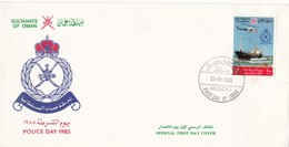 POLICE DAY-FDC 1985 MUSCAT, SULTANATE OF OMAN - BLEUP - Police - Gendarmerie
