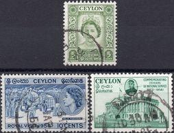 CEYLON 1952/54/56 - INCORONAZIONE + VISITA REALE + PALAZZO DEL PARLAMENTO - 3 SERIE COMPLETE USATE - Sri Lanka (Ceylon) (1948-...)