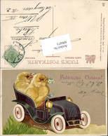 606473,Lithographie Ostern Vermenschlichte Küken Auto Pub Raphael Tuck 486 - Ostern