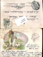 606470,Lithographie Ostern Engel Glocke Schafe Stp. Abbazia - Ostern