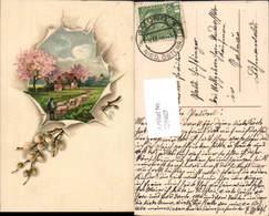 606467,Lithographie Hirte Schafe Palmzweig Ostern Stp. Gmünd - Ostern