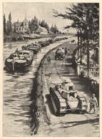 Péniches Batellerie Rare Document En Temps De Paix Projet De Tank Remorquant Un Convoi De Péniches 1919 - Old Paper