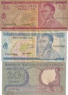 Congo Ex Belgian  3 Used Notes - République Démocratique Du Congo & Zaïre