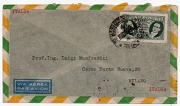 BRASIL/BRESIL - AIR MAIL COVER TO ITALY / THEMATIC STAMP-THE 5th ANNIVERSARY OF THE NEW CONSTITUTION OVERPRINT - Brasile