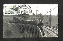ALGÉRIE - Carte Maximum - LIGNE ELECTRIFIEE DE BONE A TEBESSA - 1957 - Cartes-maximum