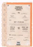 """Titre Ancien - Fabrique Nationale Herstal """"FN""""  Société Anonyme  - Titre De 1989 - Industrie"""