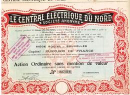 Titre Ancien - Le Central Electrique Du Nord Société Anonyme  - Titre De 1929 - N° 227416 - Electricité & Gaz