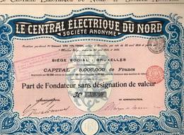Titre Ancien - Le Central Electrique Du Nord Société Anonyme  - Titre De 1905 - N° 40099 - Electricité & Gaz