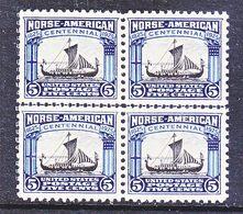 U.S. 621 X 4  Norse-American  Horizontal Line Block. ** - United States