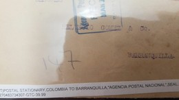 L) 1925 COLOMBIA, POSTAL STATIONARY, COLON, TRES CENTAVOS, BLUE, FIRST PANAMERICAN POSTAL CONGRESS, COLOMBIA TO BARRANQU - Colombia