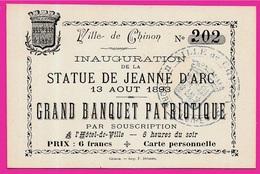 """37 CHINON Carte Pour L' INAUGURATION De La STATUE De JEANNE D'ARC Août 1893 """"Grand Banquet Patriotique"""" - Vieux Papiers"""