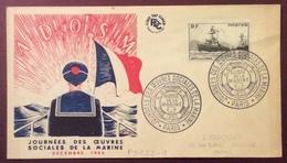 PS222-1 Oeuvres De La Marine 752 Env.FDC Journées Oeuvres Sociales Marine 3-4/12/1955 A.D.O.S.M. Verso 979 + 1047 - 1921-1960: Période Moderne
