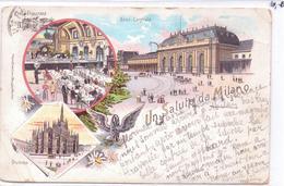 Seltene ALTE  Litho- AK  MILANO - Mailand / Italien  - 3 Versch. Ansichten -  Gelaufen 1900 Ca. - Milano