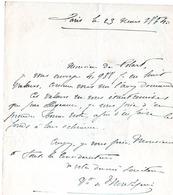 Lettre De  ,Xavier Montepin Romancier  1823-1902 - Historical Documents
