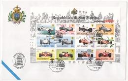 SAN MARINO !!! 1998 50 ANNI DI FERRARI CON B.F. VENETIA CLUB !!! 381/SM - FDC