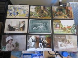 LOT à VOIR FANTAISIE,,, CHAT,PIERROT,PIANO,AVION,ILLUSTRATEURS SIGNES DONT SAGER,120 Cartes Environ - Cartoline