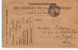 CARTE DE FRANCHISE MILITAIRE  CACHET 123éme REGIMENT   ENVOYER A Mr DEPEAUX A TROYES  1916 - Cartes De Franchise Militaire