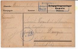 CARTE PRISONNIER DE GUERRE 1914 18  CARTE  1916  CACHET  MILITAIRE HAMELN - Guerre 1914-18