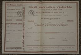 RFRA152 Scripophilie ACTION ESSAI CERTIFICAT BLANQUETTE N°6 MONTBRISONNAISE AUTOMOBILLE RARE LOIRE 1927 - Automobile