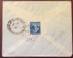 V45 Semeuse 25c Vers Russie Convoyeur Ligne  Orléans à Paris 3/7/1911 Cachet Arrivée Antérieur 19/6/1911 - Postmark Collection (Covers)