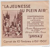 Bienfaisance, Carnet Complet De 10 Timbres Vignettes JEUNESSE AU PLEIN AIR 1954 - Cinderellas