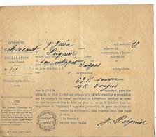 Déclaration D'enlèvement / Certificat De Sortie / OCTROI 1917 / 67 Kgs Savon & 10 Kgs Bougies à MIRECOURT 88 - 1914-18