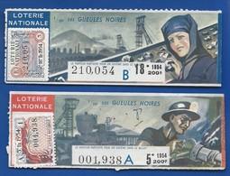 2 Billets De Loterie  Théme  La Mine  Femme Et Homme   Année 1953-1954 - Lottery Tickets
