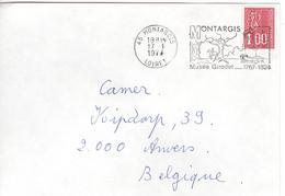 1977 Enveloppe Van 45 Montargis Loiret Naar Anvers - Mooie Kaststempel Musée Girodet 1767-1824 - France