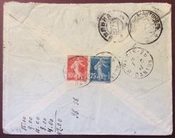 V54  Semeuse 25c + 10c Vers Russie Paris R.Danton 1/8/1911 Cachet Arrivée Antérieur 27/7/1911 - Postmark Collection (Covers)