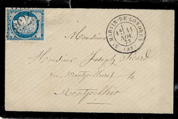 1873  Lettre De St MARTIN DE LONDRES (Hérault) - Cad T 17 G C 3753 Sur N° 60 - 1849-1876: Classic Period