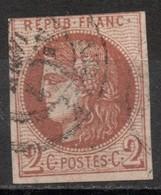 FRANCE Oblitéré N° 40B Emission De Bordeaux 2 Centimes - 1870 Emisión De Bordeaux