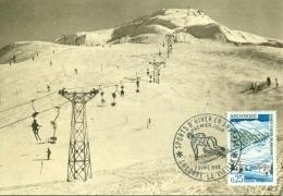 CM-Carte Maximum Card #1966-Andorre-Andorra Sport D´Hiver,Winter Sport # Télésiège, Chairlift ,Sessellift # Andorr - Cartes-Maximum (CM)