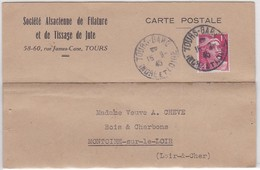 CP  - TOURS GARE / 16.8.45 - Postmark Collection (Covers)
