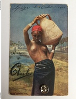 """JEUNE FILLE ÉGYPTIENNE SEINS NU """"Porteuse D 'eau"""" 1905 - Afrique Du Nord (Maghreb)"""