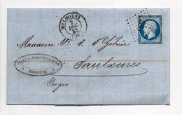 - Lettre COTONS & FILÉS SAUVÉ & HERRMANN, MULHOUSE Pour SAULXURES 7.12.1855 - 20 C. Napoléon III Ob. Losange PC 2199 - 1849-1876: Période Classique