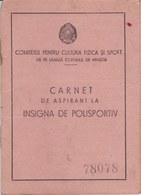 Romania, 1950's, CCFS GMA Sports Complex, Sports Brevet - Badge Award Document - Documentos Históricos