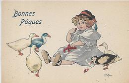 Thème,Illustrateurs Signès, BOTTARO,Bonnes Pâques, Fillette T Canards, Couleurs, Scan Recto Verso - Bottaro