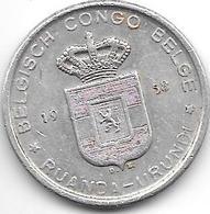Belguim Congo Ruanda Urundi 5 Francs 1958 Km 3  Vf+ - Congo (Belge) & Ruanda-Urundi